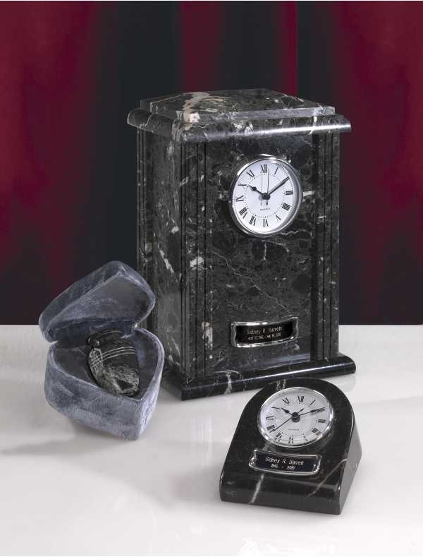 Marble Clock Tower Urn Black Grain Finish $37-$150