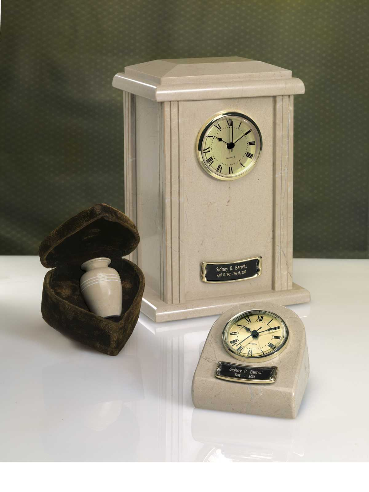 Marble Clock Tower Urn Cream Wash Finish $37-$150