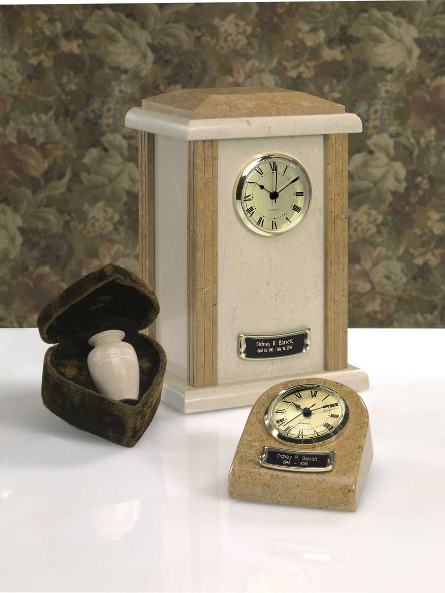 Marble Clock Tower Urn Earthgrain Finish $37-$150