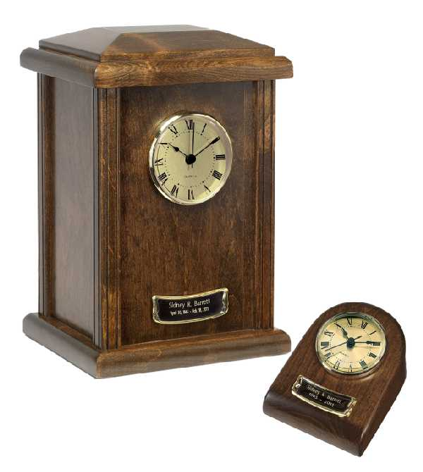 Wood Clock Tower Urn Chestnut Finish $65-$150