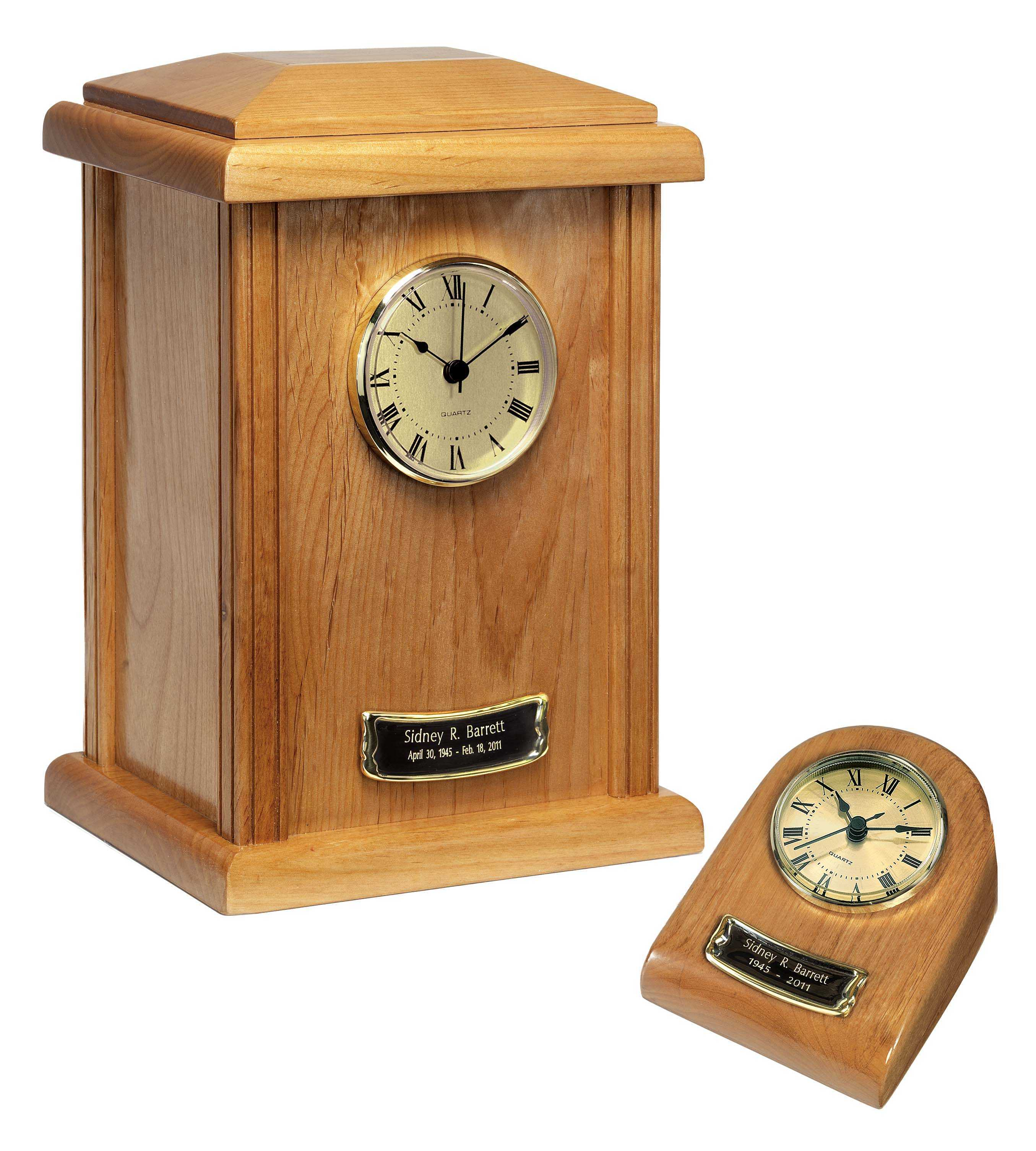 Wood Clock Tower Urn Naturale Finish $65-$150