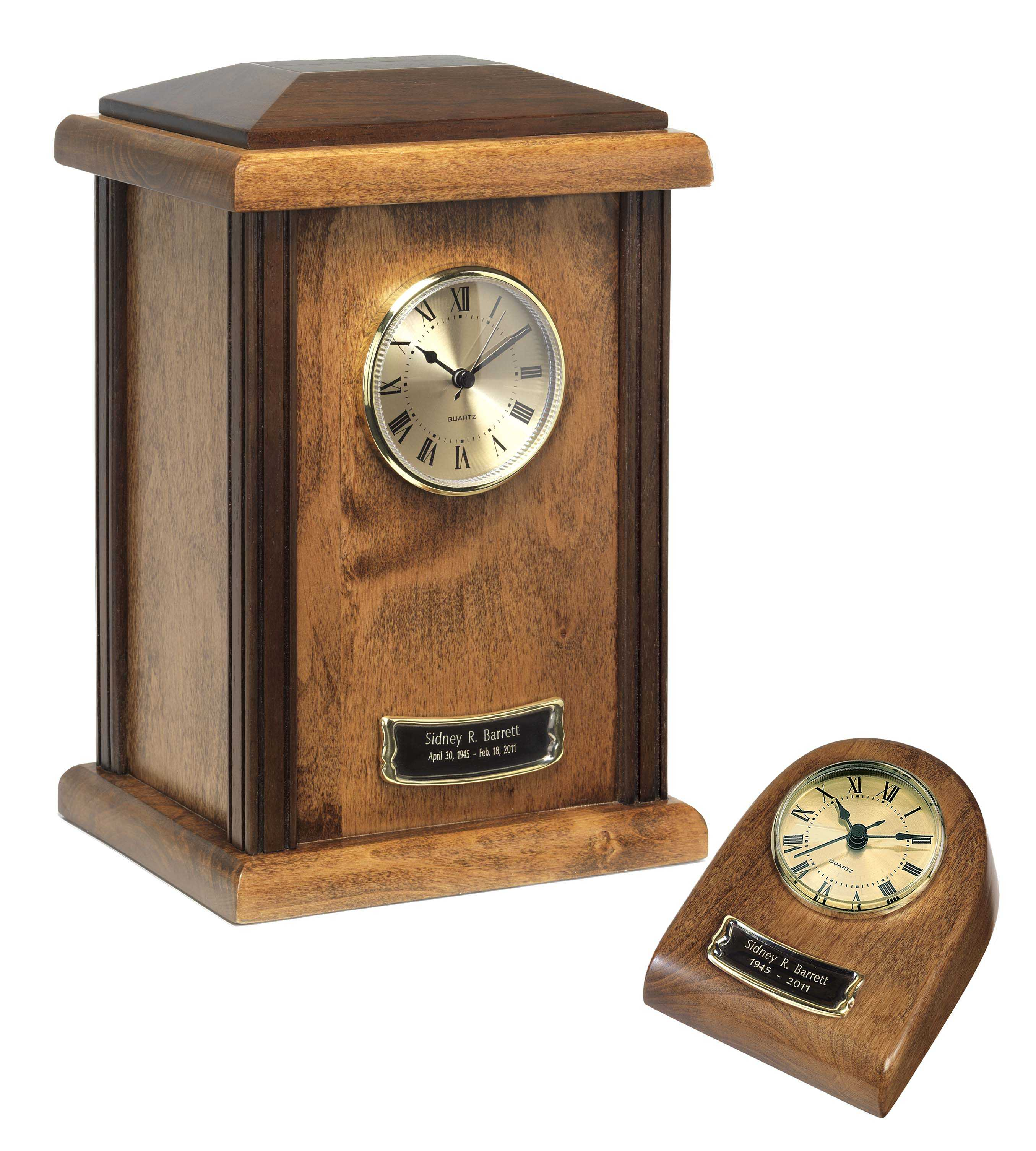 Wood Clock Tower Urn Autumn Finish $65-$150