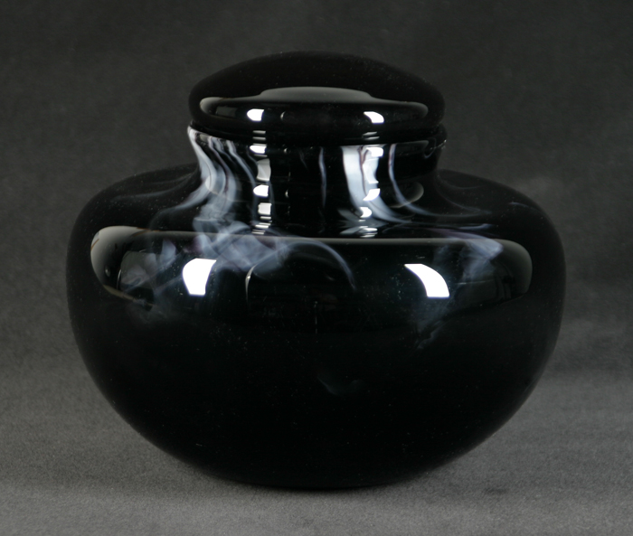 Black Marbled Glass Urn with White Accents $470