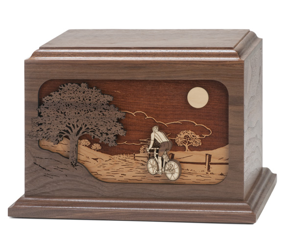 Dimensional Bicycle Ride Home Wood Urn $460