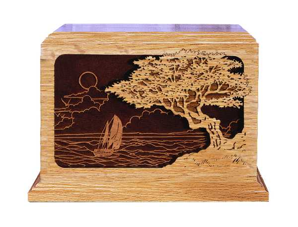 Dimensional Seascape Wood Urn $460
