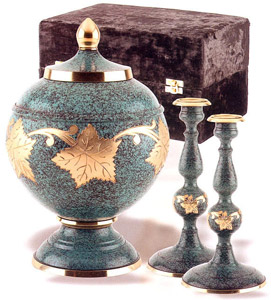 Brass Marble Patina Urn Collection Set $240.00