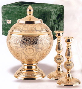 Genuine Brass Engraved Urn Collection Set $298