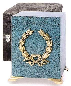 Brass Cube Wreath Urn Marble Patina Finish $196