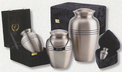 Brass Classic Brushed Pewter Finish Urn $32-124