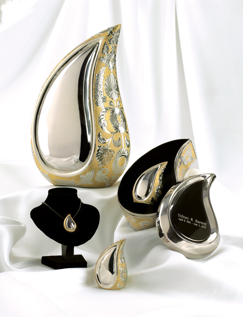 Brass Teardrop Urn Silver and Gold $40-$249